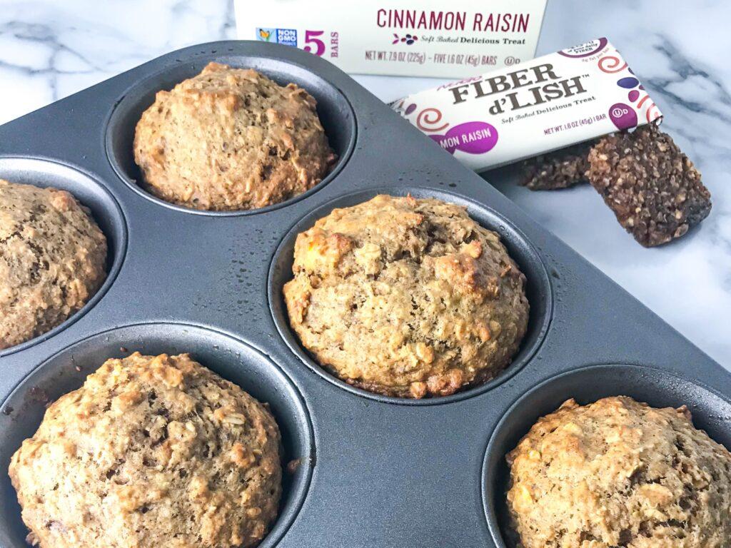 High Fiber Cinnamon Oatmeal Raisin Breakfast Muffins NuGo