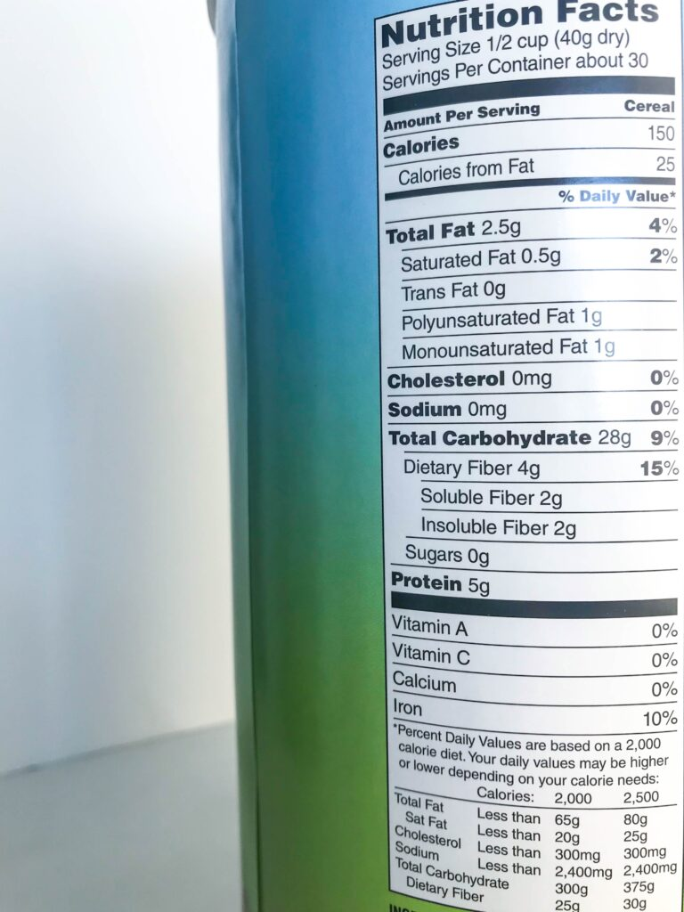 canister with nutrition facts label